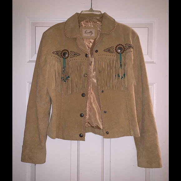 22066eb2 Scully Jackets & Coats | Tan Fringe Leather Suede Western Jacket S ...